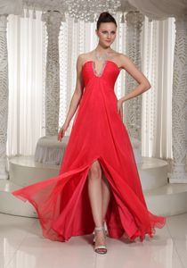 Perfect Coral Red U-neck High Slit Junior Prom Dress with Side Zipper