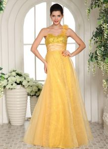 Yellow Tulle Sequins Prom Dress with Flower Accent One Shoulder