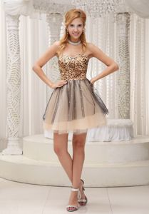 Leopard Bodice Beading Tulle Prom Dress for Slim Girls in Kendal Lake District