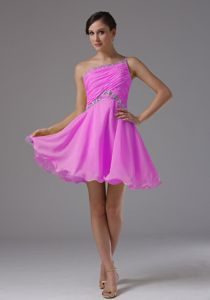 Cheap Single Shoulder Beading Ruched Prom Gown in Wirral Merseyside