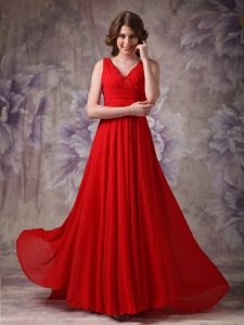 Chiffon V-neck Red Formal Prom Dresses around 100 in Bluffton USA