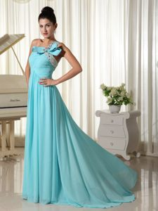 Chiffon Brush Train Beaded Aqua Blue Long Junior Prom Dress on Sale