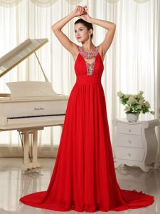 Free Shipping Scoop Neck Beaded Red Prom Dress Brush Train in Berea OH