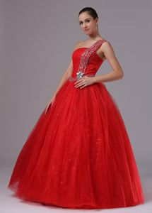 Ball Gown One Shoulder Beaded Formal Red Prom Dress in Belpre OH