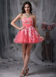 Puffy Strapless Appliqued Watermelon Mini-length Prom Outfits on Sale