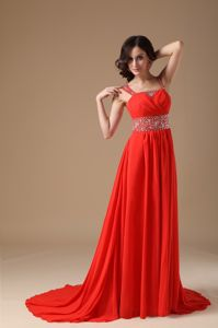 Cheap Court Train Straps Beaded Red Formal Prom Dress in Clayton NC