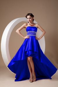 High-low Royal Blue A-line Strapless Prom Dresses with Beading in Nancy