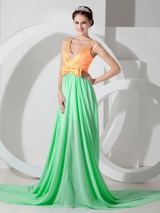 Chiffon Beaded Green Orange V-neck Prom Dress with Brush Train in Joondalup