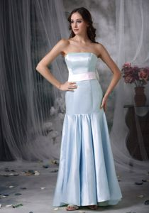 Strapless Light Blue Prom Dresses with Brush Train in Satin Sash in Wodonga