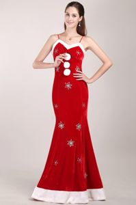 White and Red Mermaid Beaded Prom Dress with Brush Train in Frankston