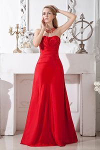 A-line Strapless Floor-length Taffeta Ruched Prom Dress in Red in Dandenong