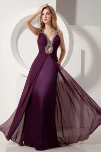 Dark Purple V-neck Floor-length Chiffon Prom Attire with Beading in Grafton