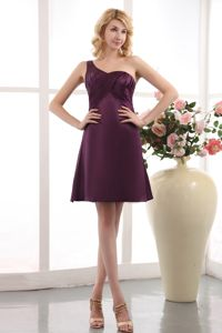 Purple One Shoulder Prom Dress Under 100 in Mini-length Taffeta in Pau France