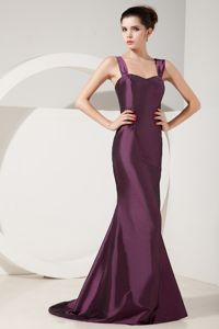 Mermaid Straps Satin Prom Outfits in Dark Purple with Brush Train in SaintPaul