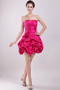 Hot Pink Strapless Mini-length Prom Dress with Hand Made Flower in Besancon