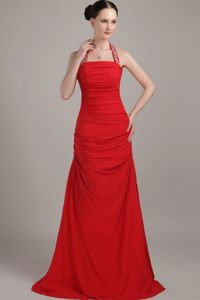 Red Halter Floor-length Chiffon Prom Gown Dress with Ruches in Dijon France