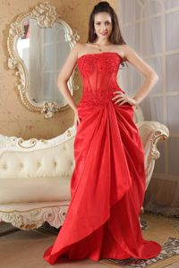 Red Taffeta Lace Strapless Prom Dress with Brush Train in Bordeaux France