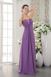 Lavender Sweetheart Floor-length Chiffon Prom Attire with Beading in Mackay