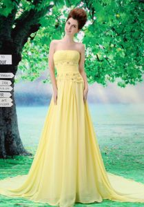 Light Yellow Strapless Custom Made Prom Dress with Beading in Tamworth