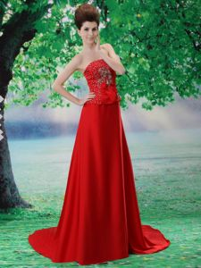 Beaded Chiffon Strapless Red Informal Prom Dress with Court Train in Orange