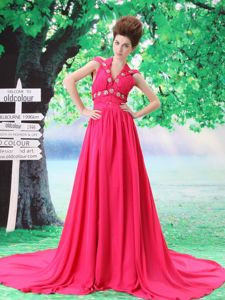 Off the Shoulder Beaded Hot Pink Prom Dress with Court Train in Grafton