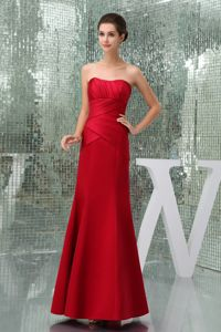 Discount Clearance Red Mini-length Strapless Prom Dresses Taffeta