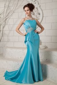 Mermaid Style Strapless Ruched Beaded Prom Dress Sweep Train