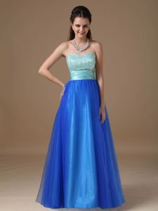 Recommended Two-toned Strapless Tulle Prom outfits with Beading
