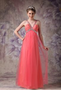 Watermelon V-neck Beading Tulle Prom Gown in Montrose Tayside