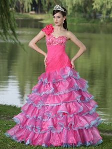 Single Shoulder Beaded Ruched Dress for Prom with Ruffled Layers