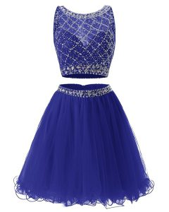Scoop Royal Blue Sleeveless Beading and Belt Mini Length Prom Gown