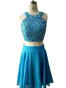 Teal Scoop Neckline Beading Prom Dresses Sleeveless Zipper