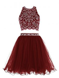 Dynamic Scoop Sleeveless Prom Gown Mini Length Beading Burgundy Chiffon