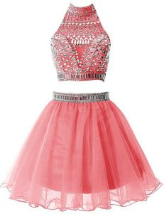Beading Prom Gown Watermelon Red Zipper Sleeveless Mini Length