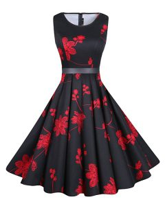 Captivating Scoop Knee Length Red And Black Chiffon Sleeveless Sashes ribbons and Pattern