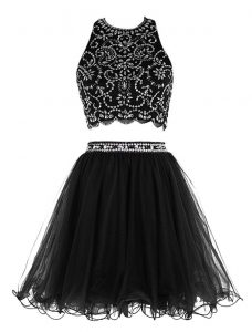 Dramatic Scoop Black Sleeveless Chiffon Clasp Handle Prom Party Dress for Prom and Party