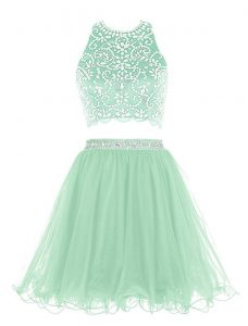 Halter Top Apple Green Two Pieces Beading Prom Dresses Clasp Handle Organza Sleeveless Mini Length