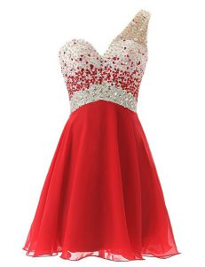 Affordable One Shoulder Beading Dress for Prom Red Criss Cross Sleeveless Knee Length