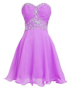 Lilac Sweetheart Lace Up Beading and Belt Prom Dresses Sleeveless