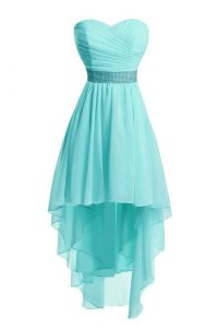 Popular High Low Lace Up Evening Dress Aqua Blue for Prom and Party with Ruching and Belt