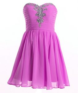 Excellent Lilac Sleeveless Mini Length Beading and Ruching Lace Up Prom Dresses