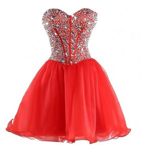 Mini Length Coral Red Prom Dress Sweetheart Sleeveless Lace Up