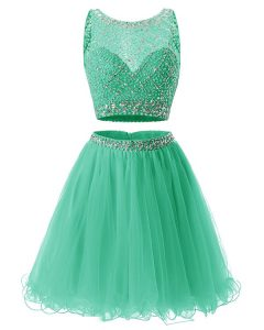 Most Popular Organza Sleeveless Mini Length Prom Dress and Beading and Belt