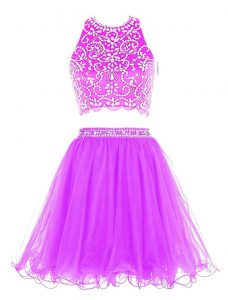 Ideal Purple Dress for Prom Prom and Party with Beading Scoop Sleeveless Clasp Handle