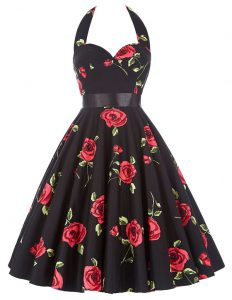 Sweet Halter Top Sleeveless Sashes ribbons and Pattern Zipper Evening Dress
