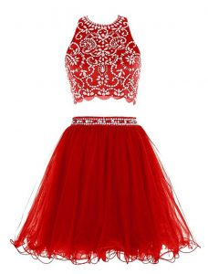 Scoop Sleeveless Chiffon Mini Length Clasp Handle Homecoming Dress in Red with Beading