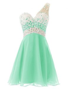 Flirting Apple Green One Shoulder Criss Cross Beading Dress for Prom Sleeveless