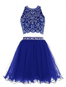 Scoop Sleeveless Beading Criss Cross Prom Gown