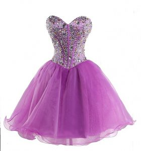 High End Lilac Lace Up Sweetheart Beading Prom Evening Gown Organza Sleeveless