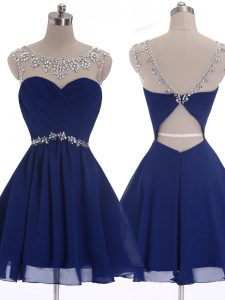 Delicate Scoop Beading Prom Party Dress Navy Blue Criss Cross Sleeveless Mini Length